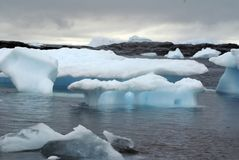 Icebergs floating under overcast skies in Antarctica Royalty Free Stock Image