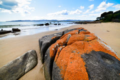 Bay of Fire, Georges Bay, St Helens, Tasmania. Perfect beach of tasmania with red rock Stock Images