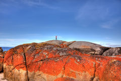 Bay of Fires. A child standing on the rocks at Bay of Fires, Tasmania Stock Image
