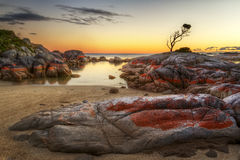 Bay Of Fires secret cove tasmania. A secret hidden cove at the Bay Of Fire, Binalong Bay  Tasmania's North East Stock Images