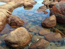 Bay of Fires, Tasmania. Bay of Fires, named after red coloured rocks caused by lichen, Tasmania, Australia stock image