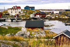 Bay of fishing, boats at berth on shore Royalty Free Stock Photos