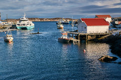 Bay fishing and ferry Royalty Free Stock Photo