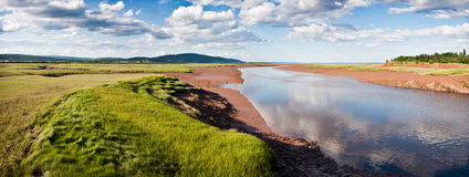 Bay of Fundy. The shores of Harvey Bank on the bay of fundy on  a beautiful day with the sun shinning on red sandstone Royalty Free Stock Photos
