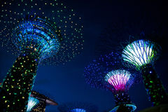 Bay gardens Singapur. Lighting effects and leds at Bay gardens in Singapore royalty free stock image