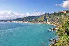 Bay of Giardini Naxos in Sicily royalty free stock photography