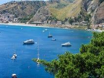 The bay of Giardini Naxos in Sicily from Taormina Stock Images