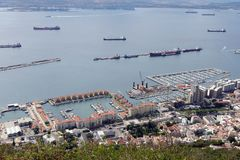 Bay of Gibraltar, seen from the Rock of Gibraltar. stock photo