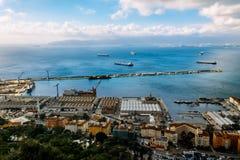 Bay of Gibraltar and Town. Bay of Gibraltar and Gibraltar Town Royalty Free Stock Photos