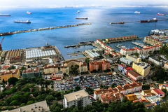 Bay of Gibraltar and Town. Bay of Gibraltar and Gibraltar Town Royalty Free Stock Images