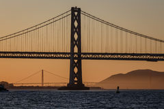 Bay and Golden Gate Bridges in San Francisco at sunset Stock Images