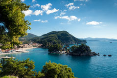 Bay in Greece. Part of the city of Parga and the small islands in the bay in Epirus, Greece Royalty Free Stock Image