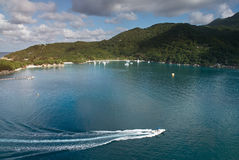 Bay in haiti caribbean island. On sunny day. Aerial panorama of carrribean island royalty free stock images
