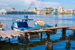 The bay of Havana with colorful fishing boats royalty free stock photo