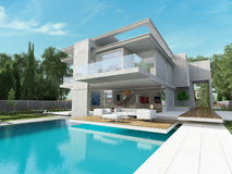 Bay house. External view of a contemporary house with pool Stock Photos