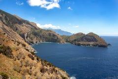The bay of Ieranto in Sorrento`s peninsula. Landscape of Ieranto bay in Sorrento, from Punta Campanella, Naples, Italy royalty free stock photography
