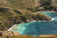 The bay of Ieranto in Sorrento`s peninsula. Landscape of Ieranto bay in Sorrento, from Punta Campanella, Naples, Italy royalty free stock image