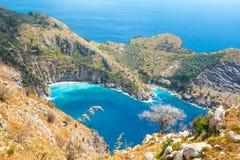The bay of Ieranto in Sorrento`s peninsula. Landscape of Ieranto bay in Sorrento, from Punta Campanella,  Naples, Italy Stock Photography