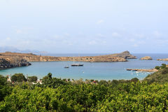 Free Bay In Lindos In Rhodes Royalty Free Stock Photo - 48186885