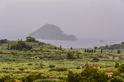 Bay and island on a cloudy day zakynthos Stock Images