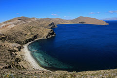 Bay on Island of the sun, Titicaca lake, Bolivia Royalty Free Stock Images