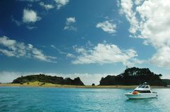Bay of Islands. A boat drifting in Bay of Islands, New Zealand Stock Images