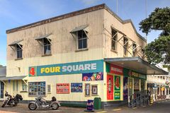 Bay of Islands, New Zealand. The Four Square shop in Russell royalty free stock photo