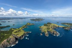 Bay of Islands New Zealand. In 1769 James Cook came to New Zealand, extensively charted both North and South Island and gave the Bay of Islands its present name stock photography