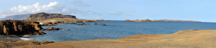 Bay in Islet of Djeu chain. Panoramic view of a bay in Djeu leading to the highest point in the Islet royalty free stock images