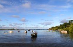 The Bay of Itacare. Ships in the Bay of Itacare, Bahia, Brazil Stock Image