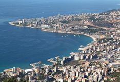 Bay of Jounieh, Lebanon. Looking down on the Mediterranean coastline at the bay of Jounieh Royalty Free Stock Image