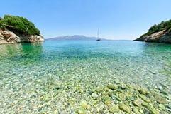 Bay on Kastos island. Scenic view of bay near Fokotrypa on Kastos island, Greece Stock Image