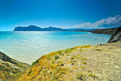 Bay of Koktebel, in the background extinct volcano Karadag Royalty Free Stock Photography