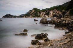 Bay in korfu. Foggy bay in korfu greece Royalty Free Stock Photos