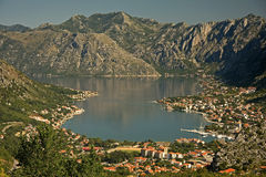 Bay of Kotor. Panorama from the mountain above. Kotor, Perast, Risan Stock Image