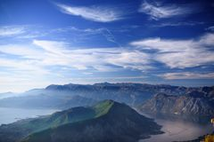 Bay of Kotor. Mountains and blue evening sky Royalty Free Stock Photos