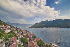 Bay of Kotor from bell tower of church of St. Nikola in Perast, Montenegro. Kotor bay, Cattaro, is a winding bay of the Adriatic Sea in southwestern Montenegro Stock Photos