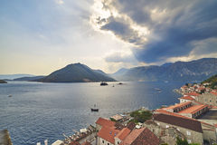 Bay of Kotor from bell tower of church of St. Nikola in Perast, Montenegro. Kotor bay, Cattaro, is a winding bay of the Adriatic Sea in southwestern Montenegro Royalty Free Stock Photo