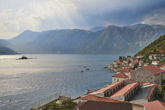 Bay of Kotor from bell tower of church of St. Nikola in from Perast, Montenegro Royalty Free Stock Images
