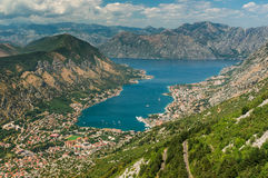 Bay of Kotor with bird's-eye view Royalty Free Stock Images