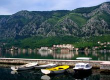 Bay of Kotor, with boats Royalty Free Stock Photography