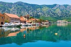Bay of Kotor (Boka Kotorska) old town with yachts, Montenegro. Stock Image