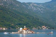 Bay of Kotor. Church on island Stock Photos