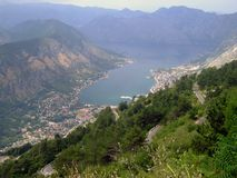 Bay of kotor city. Panoramic view of kotor city bay in montenegro royalty free stock photography