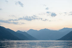 Bay of Kotor in Evening. Panorama of Boka-Kotorska bay, Montenegro. Stock Photo
