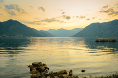 Bay of Kotor in Evening. Panorama of Boka-Kotorska bay, Montenegro. Stock Photography