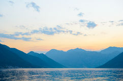 Bay of Kotor in Evening. Panorama of Boka-Kotorska bay, Montenegro. Royalty Free Stock Photography