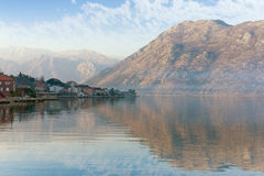 Bay of Kotor on a foggy day. Montenegro Royalty Free Stock Photo