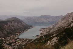 Bay of Kotor from the heights stock photography