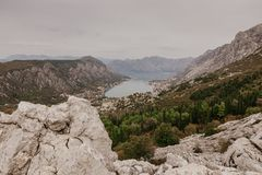Bay of Kotor from the heights stock photo